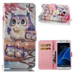 Purple Owl 3D Painted Leather Wallet Case for Samsung Galaxy S7 Edge s7edge