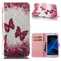 Rose Butterfly 3D Painted Leather Wallet Case for Samsung Galaxy S7 Edge s7edge