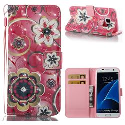 Tulip Flower 3D Painted Leather Wallet Case for Samsung Galaxy S7 Edge s7edge
