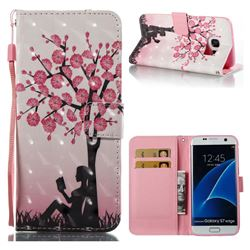 Plum Girl 3D Painted Leather Wallet Case for Samsung Galaxy S7 Edge s7edge