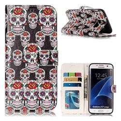 Flower Skull 3D Relief Oil PU Leather Wallet Case for Samsung Galaxy S7 Edge s7edge