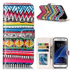 Tribal Pattern 3D Relief Oil PU Leather Wallet Case for Samsung Galaxy S7 Edge s7edge
