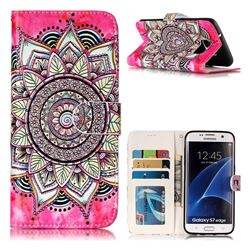Rose Mandala 3D Relief Oil PU Leather Wallet Case for Samsung Galaxy S7 Edge s7edge