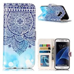 Totem Flower 3D Relief Oil PU Leather Wallet Case for Samsung Galaxy S7 Edge s7edge