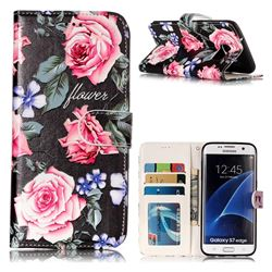 Peony 3D Relief Oil PU Leather Wallet Case for Samsung Galaxy S7 Edge s7edge