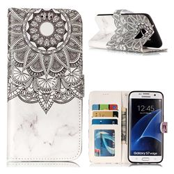 Marble Mandala 3D Relief Oil PU Leather Wallet Case for Samsung Galaxy S7 Edge s7edge