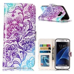 Purple Lotus 3D Relief Oil PU Leather Wallet Case for Samsung Galaxy S7 Edge s7edge