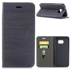 Tree Bark Pattern Automatic suction Leather Wallet Case for Samsung Galaxy S7 Edge s7edge - Gray