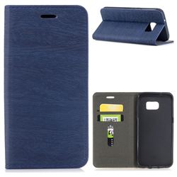 Tree Bark Pattern Automatic suction Leather Wallet Case for Samsung Galaxy S7 Edge s7edge - Blue