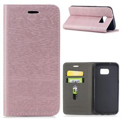 Tree Bark Pattern Automatic suction Leather Wallet Case for Samsung Galaxy S7 Edge s7edge - Rose Gold