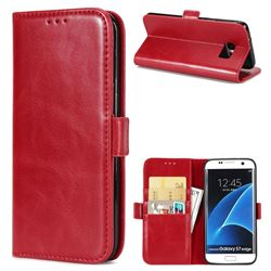 Luxury Crazy Horse PU Leather Wallet Case for Samsung Galaxy S7 Edge s7edge - Red