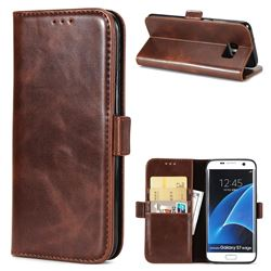 Luxury Crazy Horse PU Leather Wallet Case for Samsung Galaxy S7 Edge s7edge - Coffee