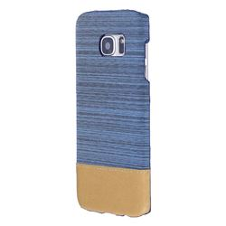 Canvas Cloth Coated Plastic Back Cover for Samsung Galaxy S7 Edge s7edge - Light Blue