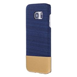 Canvas Cloth Coated Plastic Back Cover for Samsung Galaxy S7 Edge s7edge - Dark Blue