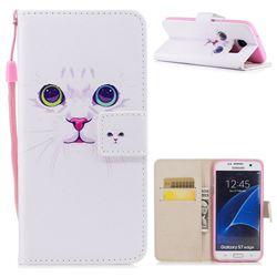 White Cat PU Leather Wallet Case for Samsung Galaxy S7 Edge s7edge