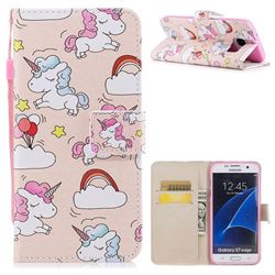 Rainbow Unicorn PU Leather Wallet Case for Samsung Galaxy S7 Edge s7edge