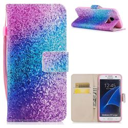 Rainbow Sand PU Leather Wallet Case for Samsung Galaxy S7 Edge s7edge