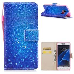 Blue Powder PU Leather Wallet Case for Samsung Galaxy S7 Edge s7edge