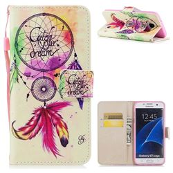 Feather Wind Chimes PU Leather Wallet Case for Samsung Galaxy S7 Edge s7edge
