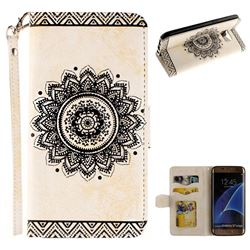 Embossed Datura Flower PU Leather Wallet Case for Samsung Galaxy S7 Edge s7edge - White