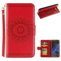 Embossed Datura Flower PU Leather Wallet Case for Samsung Galaxy S7 Edge s7edge - Red