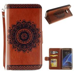 Embossed Datura Flower PU Leather Wallet Case for Samsung Galaxy S7 Edge s7edge - Brown
