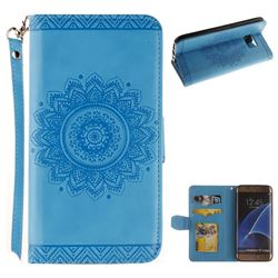 Embossed Datura Flower PU Leather Wallet Case for Samsung Galaxy S7 Edge s7edge - Blue