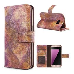 Luxury Retro Forest Series Leather Wallet Case for Samsung Galaxy S7 Edge s7edge - Purple