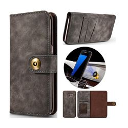 Luxury Vintage Split Separated Leather Wallet Case for Samsung Galaxy S7 Edge s7edge - Black