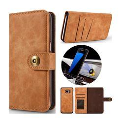 Luxury Vintage Split Separated Leather Wallet Case for Samsung Galaxy S7 Edge s7edge - Khaki