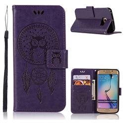 Intricate Embossing Owl Campanula Leather Wallet Case for Samsung Galaxy S7 Edge s7edge - Purple