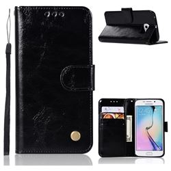 Luxury Retro Leather Wallet Case for Samsung Galaxy S7 Edge s7edge - Black