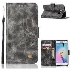 Luxury Retro Leather Wallet Case for Samsung Galaxy S7 Edge s7edge - Gray