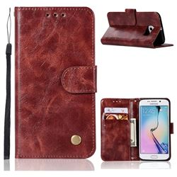 Luxury Retro Leather Wallet Case for Samsung Galaxy S7 Edge s7edge - Wine Red