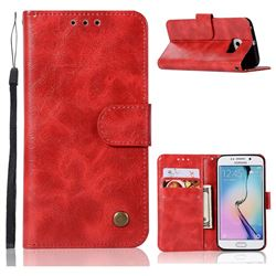 Luxury Retro Leather Wallet Case for Samsung Galaxy S7 Edge s7edge - Red