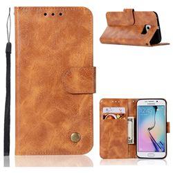 Luxury Retro Leather Wallet Case for Samsung Galaxy S7 Edge s7edge - Golden