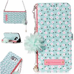 Daisy Endeavour Florid Pearl Flower Pendant Metal Strap PU Leather Wallet Case for Samsung Galaxy S7 Edge s7edge