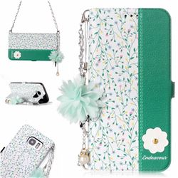 Magnolia Endeavour Florid Pearl Flower Pendant Metal Strap PU Leather Wallet Case for Samsung Galaxy S7 Edge s7edge