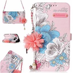 Pink Blue Rose Endeavour Florid Pearl Flower Pendant Metal Strap PU Leather Wallet Case for Samsung Galaxy S7 Edge s7edge