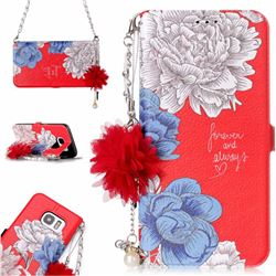 Red Chrysanthemum Endeavour Florid Pearl Flower Pendant Metal Strap PU Leather Wallet Case for Samsung Galaxy S7 Edge s7edge