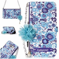Blue-and-White Endeavour Florid Pearl Flower Pendant Metal Strap PU Leather Wallet Case for Samsung Galaxy S7 Edge s7edge
