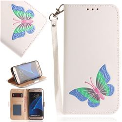 Imprint Embossing Butterfly Leather Wallet Case for Samsung Galaxy S7 Edge s7edge - White