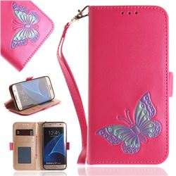 Imprint Embossing Butterfly Leather Wallet Case for Samsung Galaxy S7 Edge s7edge - Rose Red