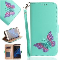 Imprint Embossing Butterfly Leather Wallet Case for Samsung Galaxy S7 Edge s7edge - Mint Green