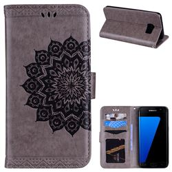 Datura Flowers Flash Powder Leather Wallet Holster Case for Samsung Galaxy S7 Edge s7edge - Gray