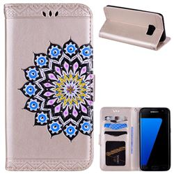 Datura Flowers Flash Powder Leather Wallet Holster Case for Samsung Galaxy S7 Edge s7edge - Golden