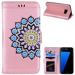 Datura Flowers Flash Powder Leather Wallet Holster Case for Samsung Galaxy S7 Edge s7edge - Pink