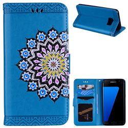 Datura Flowers Flash Powder Leather Wallet Holster Case for Samsung Galaxy S7 Edge s7edge - Blue