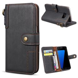 Retro Luxury Cowhide Leather Wallet Case for Samsung Galaxy S7 Edge s7edge - Black