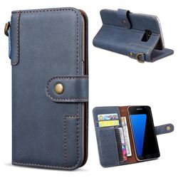 Retro Luxury Cowhide Leather Wallet Case for Samsung Galaxy S7 Edge s7edge - Blue